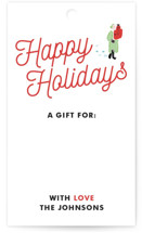 This is a colorful gift tag by Patrice Horvath called Holiday Hustle printing on signature.