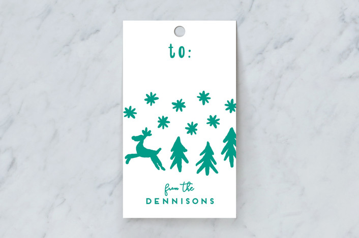 """""""Reindeer Run Test"""" - Gift Tags in Forest by Gwen Bedat."""