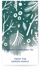 This is a green gift tag by Eve Schultz called Winter Flora and Fauna printing on signature.