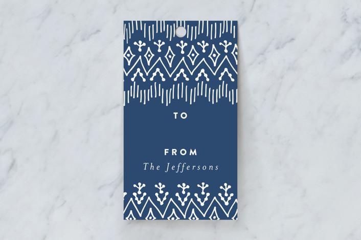 """Bohemian Border"" - Rustic Gift Tags in Blueberry by Susanne Kasielke."