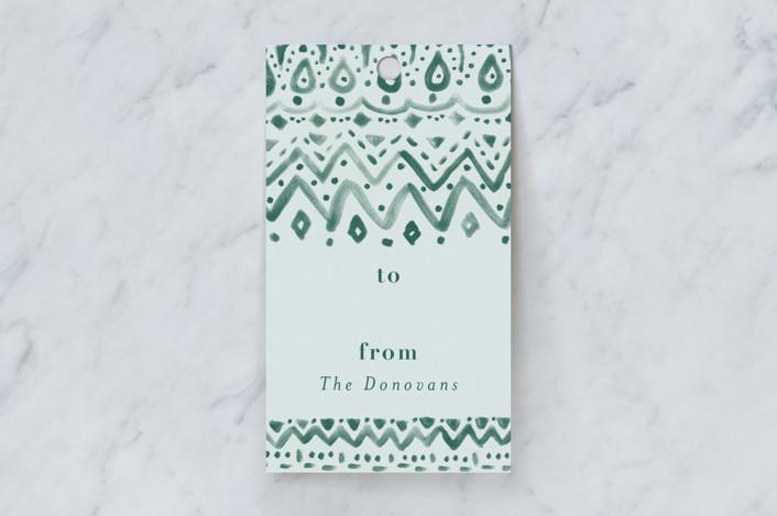 """""""Sweater pattern"""" - Rustic Gift Tags in Mint by Susanne Kasielke."""