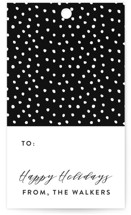 This is a black gift tag by Roxy Cervantes called Gilded Dots printing on recycled.