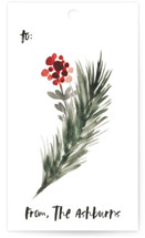 This is a black gift tag by GeekInk Design called Evergreen Holiday printing on recycled.
