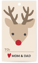 This is a black gift tag by Jessie Steury called Red nose printing on signature.