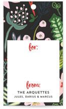 This is a black gift tag by Erika Firm called Poinsettia Pretty In Pink printing on recycled.