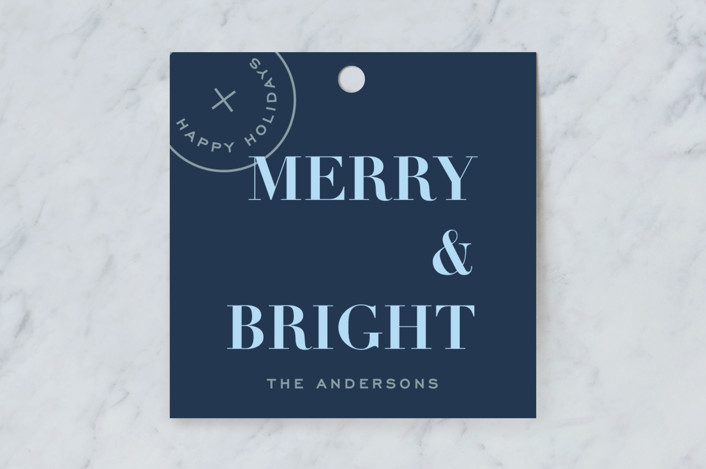 """""""Holiday Seal"""" - Gift Tags in Denim by Joyce Pinheiro."""