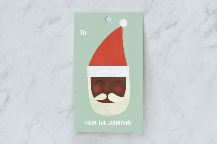 """""""Multi-Cultural Santas"""" - Whimsical & Funny Gift Tags in Pistachio by melanie mikecz."""