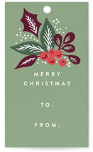 This is a green gift tag by Alethea and Ruth called Pine Branch Berries printing on signature.