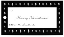 This is a black gift tag by Annie Shapiro called Tree Grid printing on recycled.
