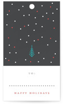 This is a black gift tag by Katy Shen called Tiny Christmas printing on signature.