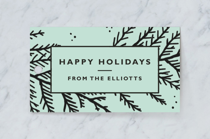 """""""Big Bold Christmas Branches"""" - Rustic Gift Tags in Minty by Kelsey Mucci."""