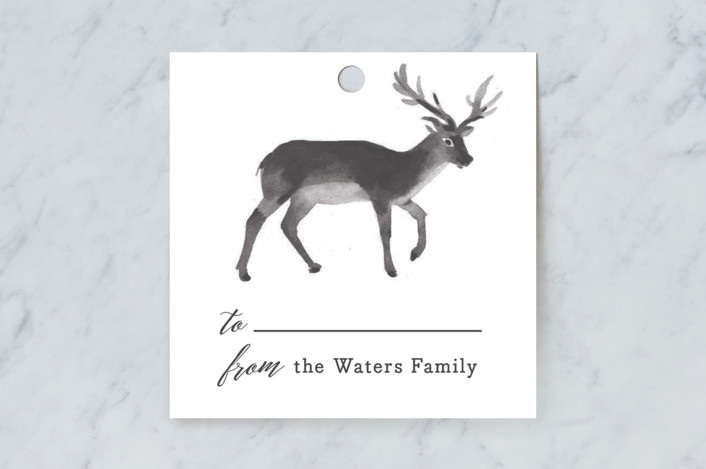 """""""Reindeer Feet"""" - Rustic, Whimsical & Funny Gift Tags in Charcoal by Rebecca Daublin."""