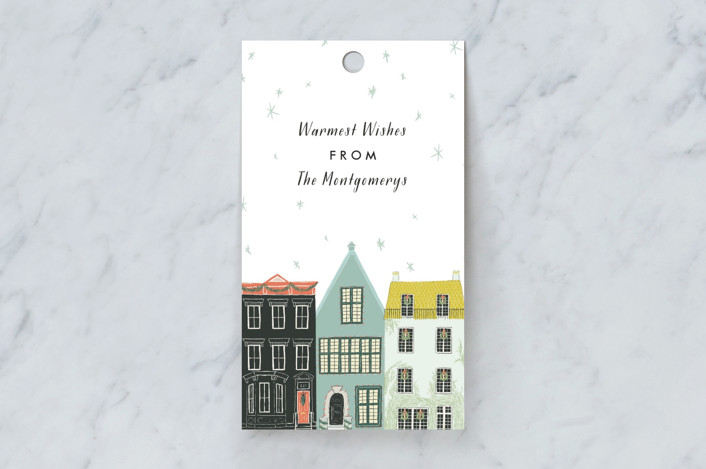 """""""Main Street"""" - Whimsical & Funny Gift Tags in Snow by Julie Murray."""