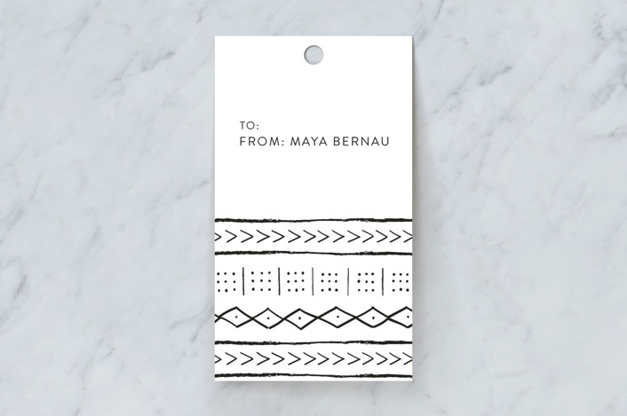 """""""mud cloth tribe"""" - Gift Tags in Midnight by Erin Deegan."""