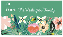 This is a green gift tag by Alethea and Ruth called Jungle Florals printing on signature.