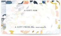 This is a blue gift tag by Mya Bessette called Chasing Light printing on recycled.