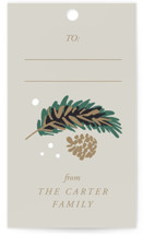 This is a beige gift tag by Gina Grittner called Festive Branches printing on signature.