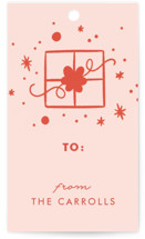 This is a red gift tag by Paper Raven Co. called My Favorite Things printing on signature.