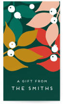 This is a colorful gift tag by Genna Cowsert called Mod Leaves printing on recycled.