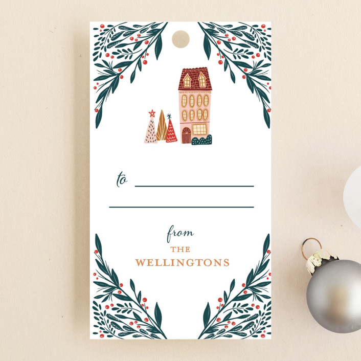 """Holiday Season"" - Whimsical & Funny Gift Tags in Snow by Vivian Yiwing."