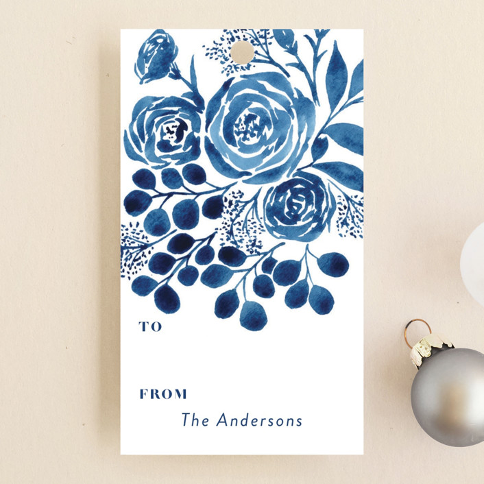 """Blue Floral Boquest"" - Gift Tags in Cobalt by Yaling Hou Suzuki."