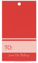 This is a red gift tag by Kelsey McNatt called FA LALALA printing on signature.