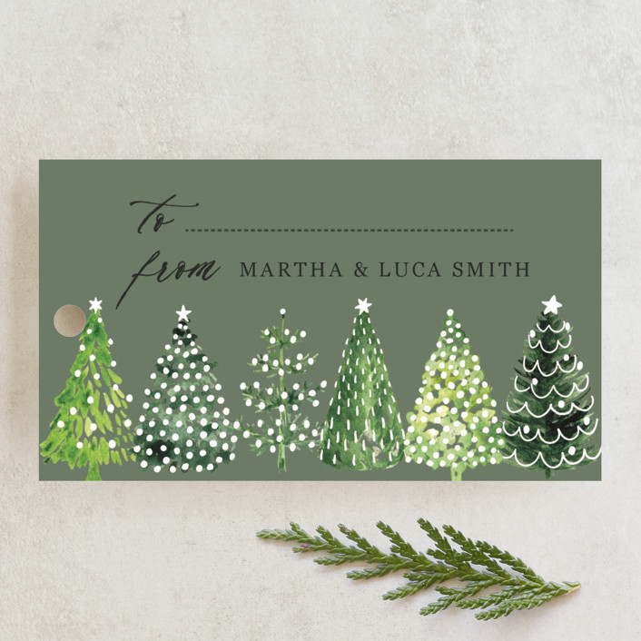 """Decorated Christmas trees"" - Rustic Gift Tags in Snow by Rosana Laiz Blursbyai."