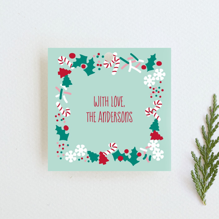"""""""Christmas Sprinkles"""" - Whimsical & Funny Gift Tags in Mint by Tiffany Wong."""