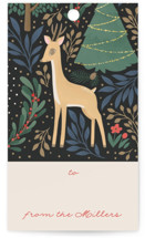 This is a beige gift tag by Four Wet Feet Studio called Reindeer Forest printing on signature.