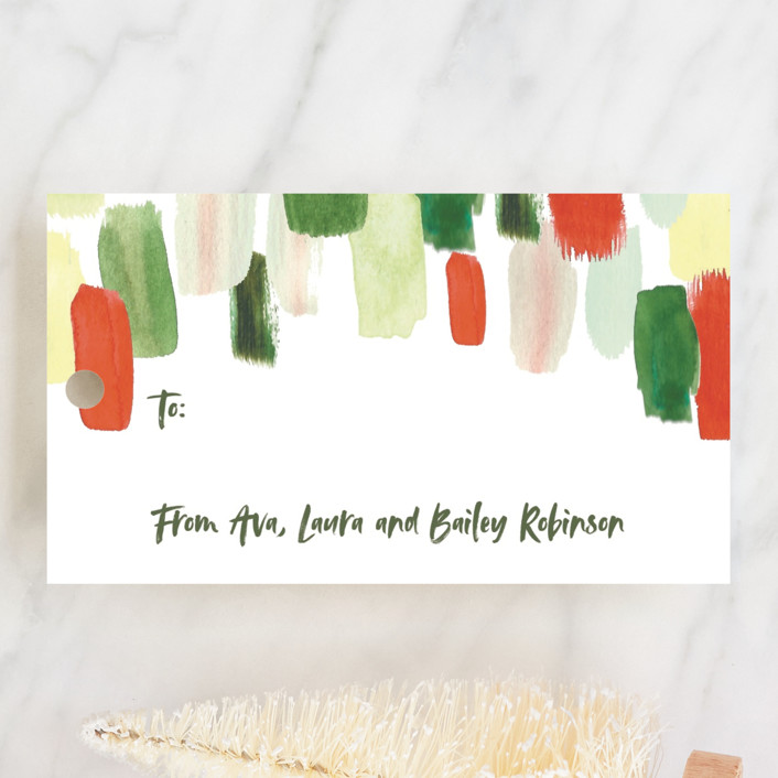 """""""Painted Brushed Strokes"""" - Modern Gift Tags in Holly by Erika Firm."""