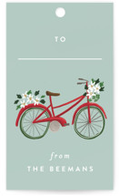 This is a colorful gift tag by Rebecca Durflinger called Christmas Bicycles printing on signature.