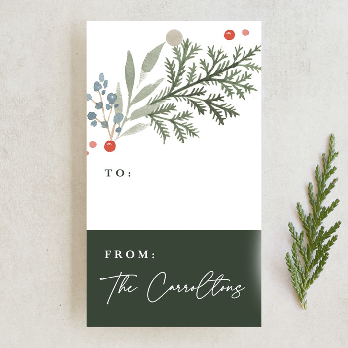 """""""Evergreens2"""" - Gift Tags in Evergreen by Kristen Smith."""