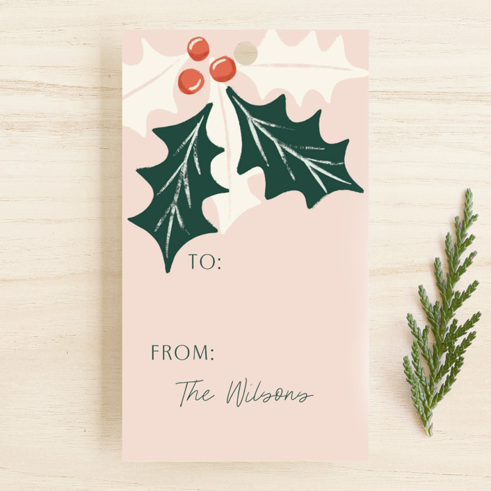"""""""Holiday leaves II"""" - Gift Tags in Blush by Yaling Hou Suzuki."""