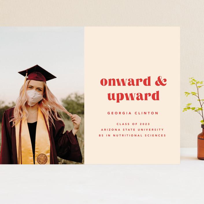 """""""Onward & Upward"""" - Funny, Preppy Grand Graduation Cards in Peach by Anna Elder."""