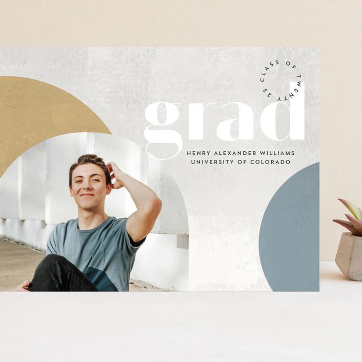 """Abstract Stone"" - Modern, Preppy Grand Graduation Cards in Mustard by Anna Elder."