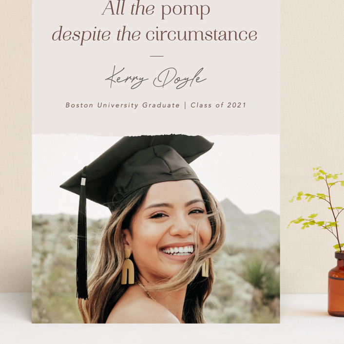 """""""All the Pomp Despite the Circumstance"""" - Funny, Preppy Grand Graduation Cards in Sandstone by Kelsey Mucci."""
