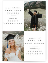 This is a black graduation announcement invitation by Ana Sharpe called Brightness with standard printing on smooth signature in grand.