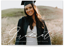 This is a white graduation announcement invitation by Ashley Rosenbaum called Classic & Bold with standard printing on smooth signature in grand.