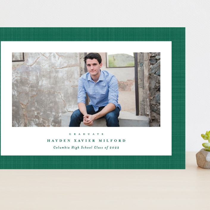"""Linen frame"" - Grand Graduation Cards in Shamrock by Lea Delaveris."