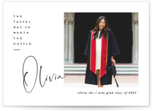 This is a white graduation announcement invitation by Creo Study called worth the hassle with standard printing on smooth signature in grand.