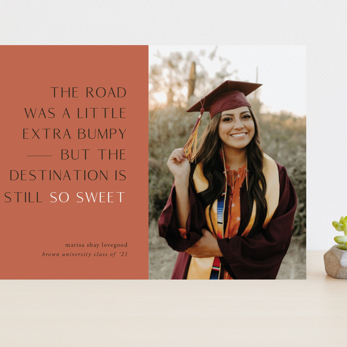 """""""Destination"""" - Funny, Modern Grand Graduation Cards in Faded Rust by Up Up Creative."""