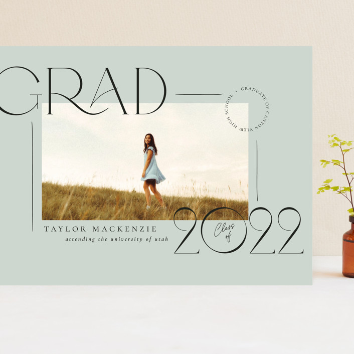 """Mod Grad"" - Modern Grand Graduation Cards in Mint by Wildfield Paper Co."