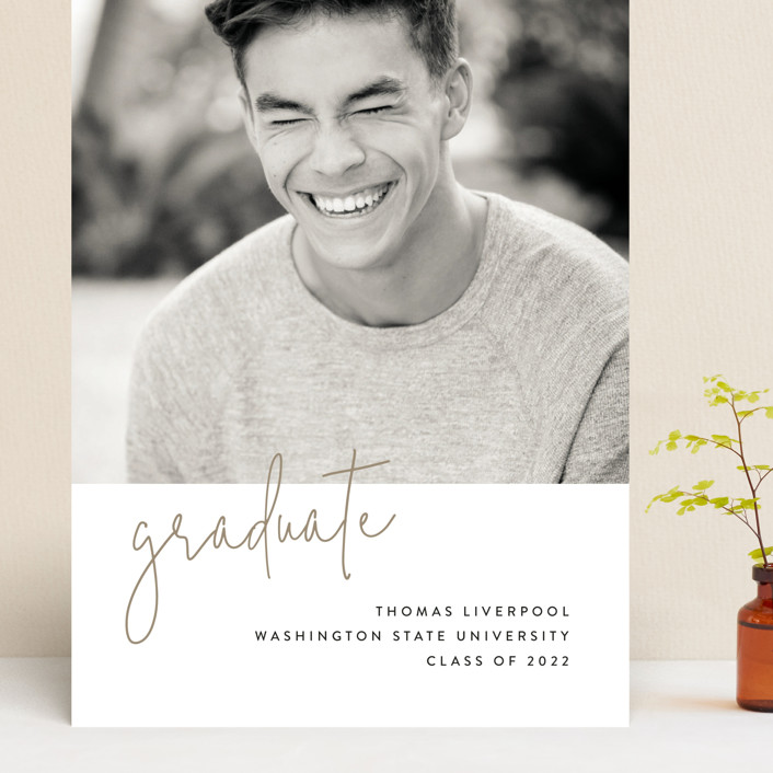 """""""Minimalist"""" - Grand Graduation Cards in Taupe by Chryssi Tsoupanarias."""