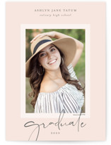 This is a pink graduation announcement invitation by Lehan Veenker called Signature Graduate with standard printing on smooth signature in grand.