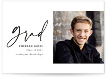 This is a white graduation announcement invitation by Caitlin Considine called Brushed with standard printing on smooth signature in grand.