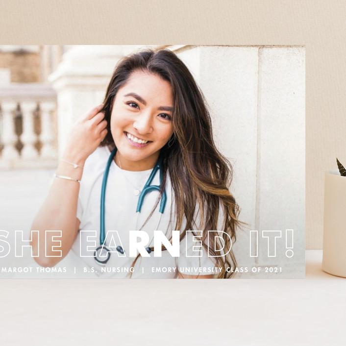 """""""Earned It"""" - Grand Graduation Cards in Snow by Ekko Studio."""