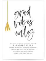 This is a black and white graduation announcement invitation by Jackie Crawford called Grad vibes only with standard printing on signature in grand.