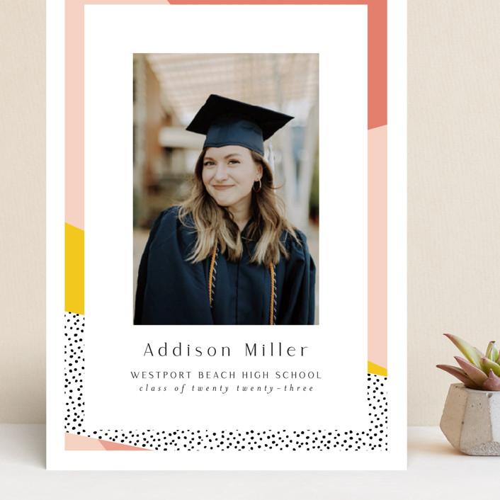 """Bold Border"" - Modern, Preppy Grand Graduation Cards in Pink Lemonade by Nicole Walsh."
