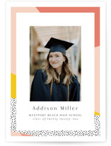 This is a pink oversized graduation card by Nicole Walsh called Bold Border with standard printing on signature in grand.