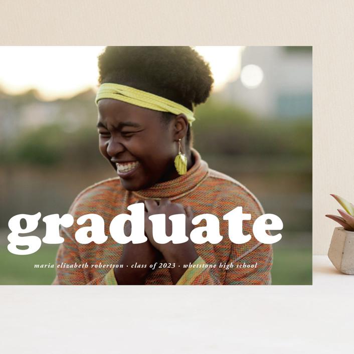 """""""Cooper"""" - Modern Grand Graduation Cards in Snow by Heather Schertzer."""